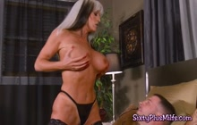 An older blonde with huge tits fucked real hard