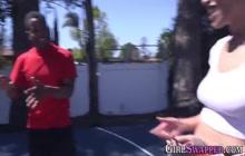 Ebony stepdaughter blows huge dick