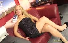 Blonde amateur lady enjoying hardcore casting sex