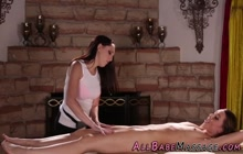 Feet rubbing les masseuse gets fingered