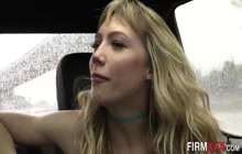 Blonde babe swallows cum after sucking