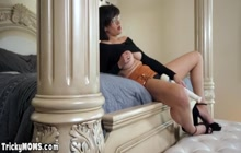 Mature mommy fucks herself and blows stepsons big cock