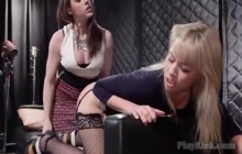 Lesbian domina playing with blonde hottie